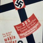 """Translation: """"Over 300 National Socialists died for you — murdered by Marxist subhumanity!!! For work and food vote Adolf Hitler List 2."""" The reference is to deaths to members of the National Socialist German Workers' Party during political battles on the streets and in political gatherings. The Christian imagery is clear. The tie-in of the Hakenkreuz to other crosses, as well as the German Iron Cross."""